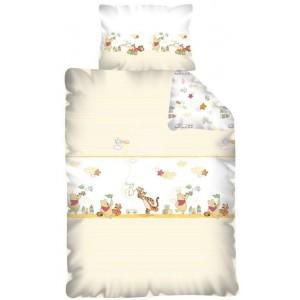 Béžová obliečka na posteľ pre deti s mackom Pu