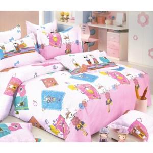 Bielo ružové obliečky na posteľ s detským motívom