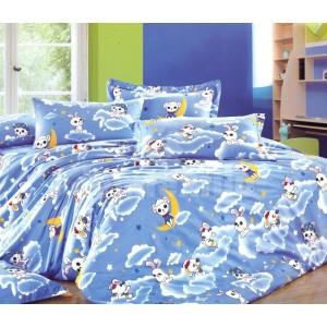 Modrá obliečka na posteľ pre deti s ovečkou na oblaku