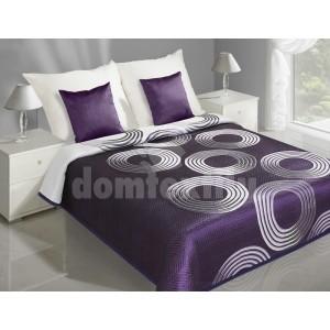 Obojstranný prehoz na postele fialovej farby s bielymi kruhmi