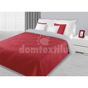 Červeno sivý obojstranný prehoz na posteľ