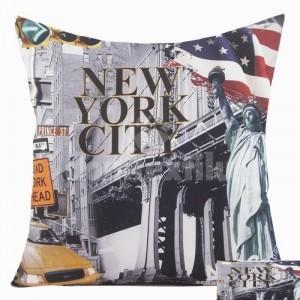 Sivá obliečka na vankúš s motívom New Yorku