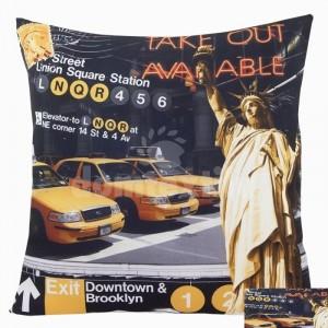 Čierna obliečka na vankúše žlté taxíky, socha slobody