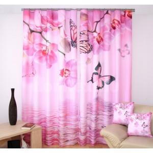 Krásny ružový záves na okná s orchideami a motýlikmi 3D