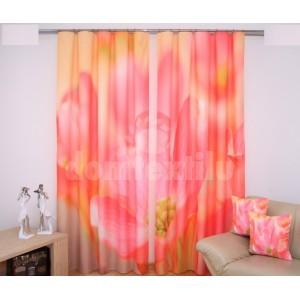 Nádherný oranžový záves do izby s ružovými kvietkami
