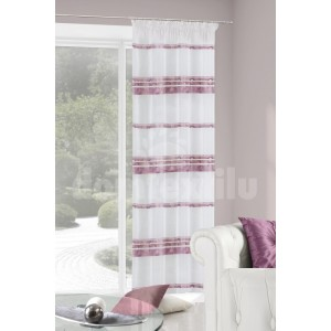 Pruhované závesy na okná bielo fialovej farby