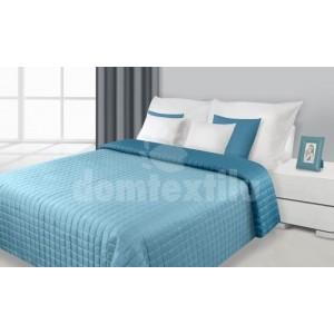 Obojstranné prehozy na postele tyrkysovej farby s kockami