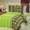 Pruhovaná zelená obliečka na postele s geometrickým motívom