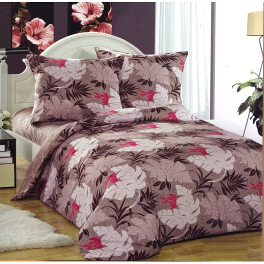 Hnedé posteľné obliečky vzor listy