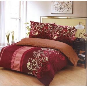 Obliečky na posteľ bordovej farby s bielym motívom