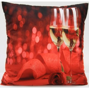Červené obliečky na vankúš s ružou a pohármi vína 50 x 60cm