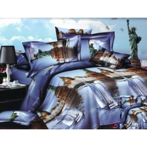 Modré posteľné obliečky s 3D motívom veľkomesta