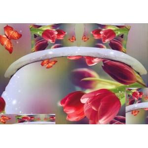 Fialové posteľné obliečky s červenými tulipánmi