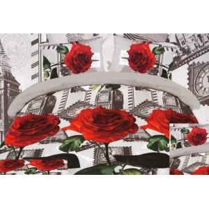 Sivá posteľná obliečka červená ruža