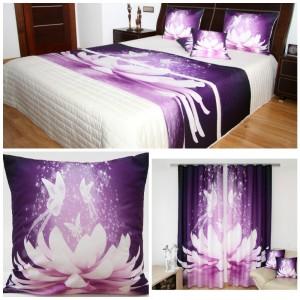 Bielo-fialový dekoračný set do spálne s motýľami a leknom