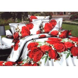Obliečky na postele bielej farby s červenými ružami