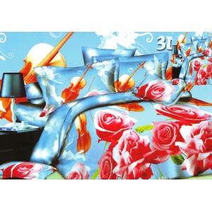 Posteľné obliečky modré motív ruže