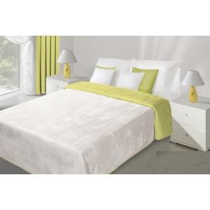 Bielo limetkový obojstranný prehoz na posteľ s prešívaním