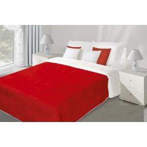 Prešívaný obojstranný prehoz na posteľ červeno bielej farby