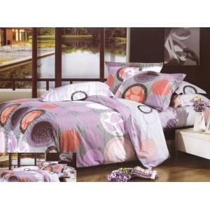 Obliečka na posteľ fialová s farebnými kruhmi