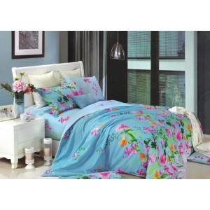 Modré obliečky na posteľ s kvetmi