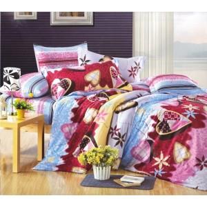 Modro fialové posteľné obliečky s dovolenkovým motívom