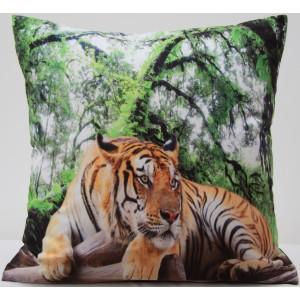 Zeleno hnedá obliečka na vankúše s tigrom