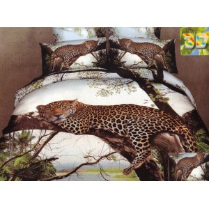 Biele 3D posteľné obliečky leopard na strome