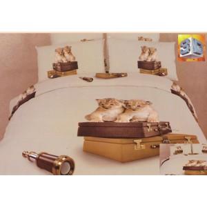 Béžové obliečky na posteľ s 3D potlačou levíčatá na kufroch