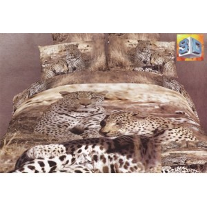 Hnedá 3D obliečka na postele vzor leopardi