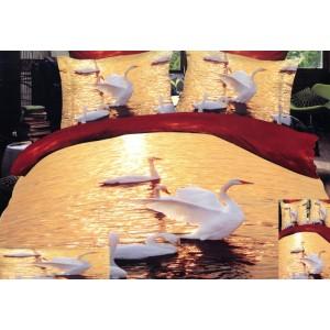 Oranžová posteľná obliečka labute na jazere