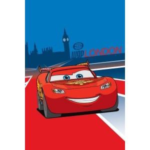 Modro červený uterák pre deti s motívom červeného auta