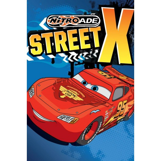 Street X modrý detský uterák s červeným autom