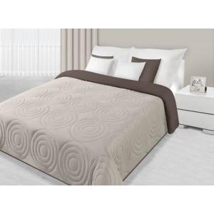 Krémovo hnedé prehozy na posteľ s kruhovým prešívaním
