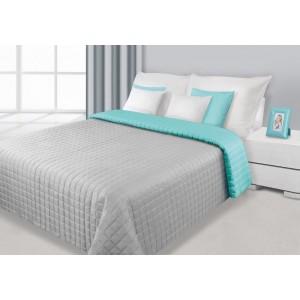 Obojstranný prehoz na posteľ strieborno mätový so štvorcami
