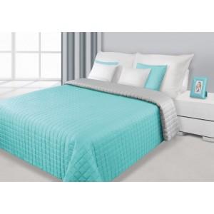 Mätovo strieborné štvorcované obojstranné prehozy na posteľ