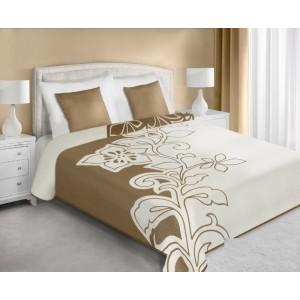 Obojstranný prehoz na posteľ krémovo béžový so vzorom