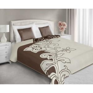 Prehozy na posteľ obojstranné hnedo krémovej farby s motívmi
