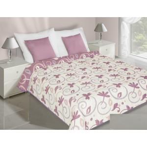 Obojstranný prehoz na posteľ krémovo fialový s listami
