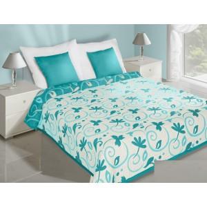 Kvety obojstranné prehozy na posteľ krémovo tyrkysové
