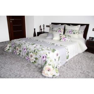Sivo krémový prehoz na posteľ s ružami