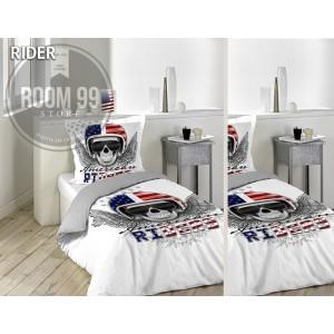 Moderné obliečky na posteľ bielej farby s lebkou