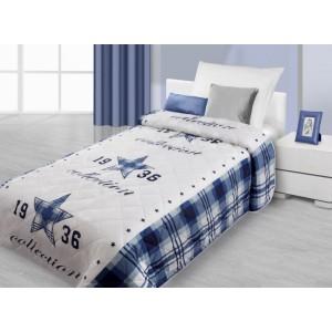 Modro biely prehoz na posteľ s 3D motívom modrej hviezdy