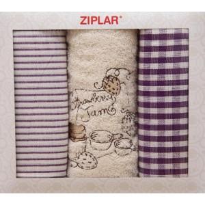 Set kuchynských karovaných utierok s uterákom krémovej farby