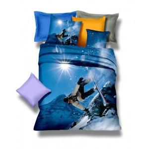 Modré obliečky na posteľ z mikrovlákna so snowboardistom