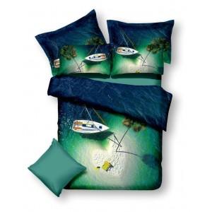Posteľné návliečky modro zelenej farby modrá lagúna