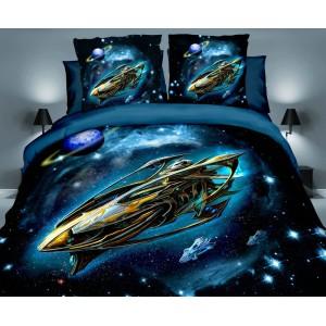 Posteľné obliečky tmavo modrej farby s vesmírnou loďou