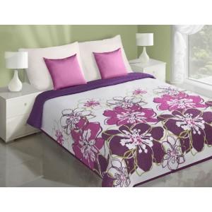 Obojstranný prehoz na posteľ bielej farby s ružovo fialovými kvetmi