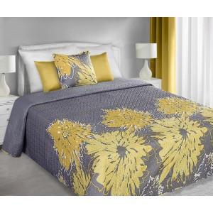 Sivé prehozy obojstranné na posteľ so vzorom veľkých žltých kvetov