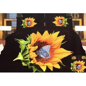 Posteľné obliečky v čiernej farbe so slnečnicou